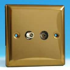 Varilight 2 Gang (Co-axial + F-Type Satellite) Socket Victorian Brass Finish XV88S